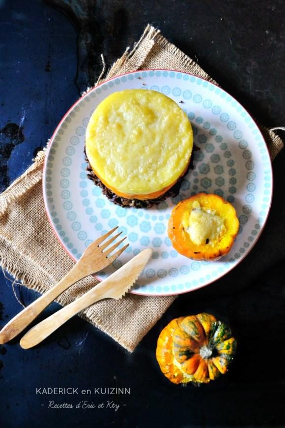 Petite courge farcie hachis parmentier potimarron carotte