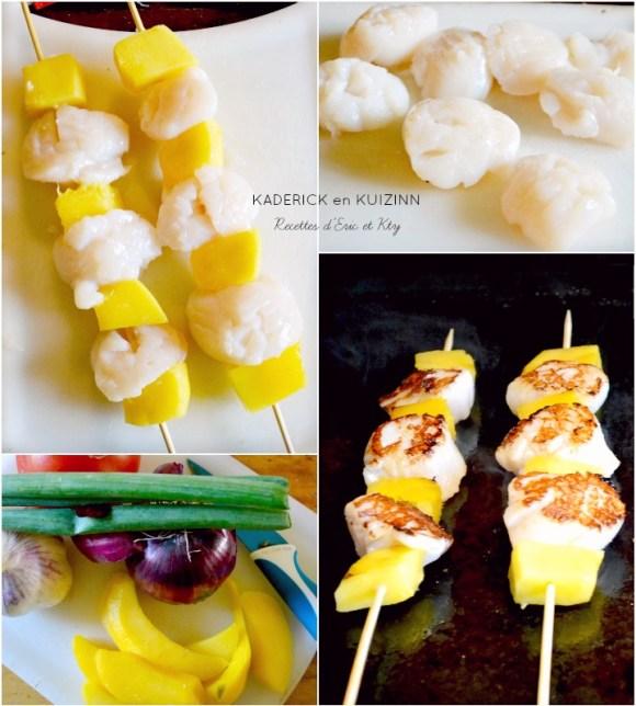 Préparation brochettes st jacques cuisson plancha salsa mangue