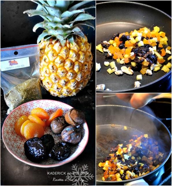 Cuisson chutney ananas abricots secs pruneaux noix et jus corsé
