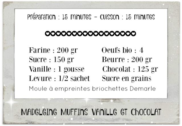 Fiche recette madeleine muffins vanille chocolat