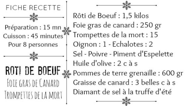 Fiche recette roti de boeuf foie gras trompettes mort et grenaille