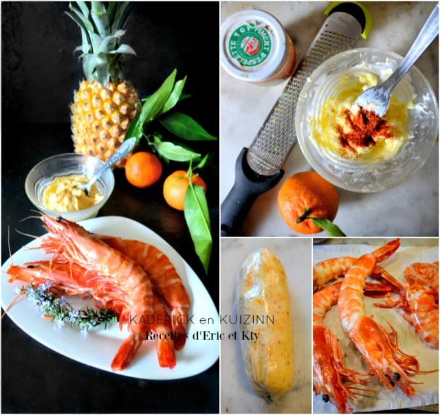 Grosses crevettes sauvages ananas victoria beurre clementines Corses piment