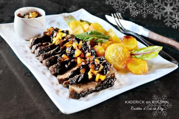 Magret de canard chutney pommes terre graisse canard