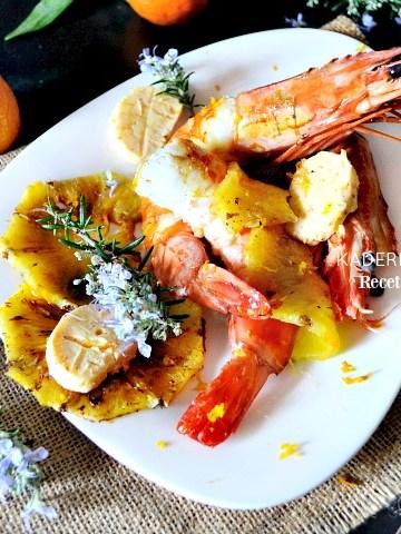 Plancha crevettes sauvages ananas beurre clémentines corses