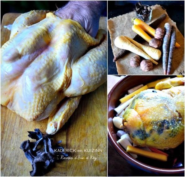 Préparation poularde trompette de la mort sous la peau et légumes anciens