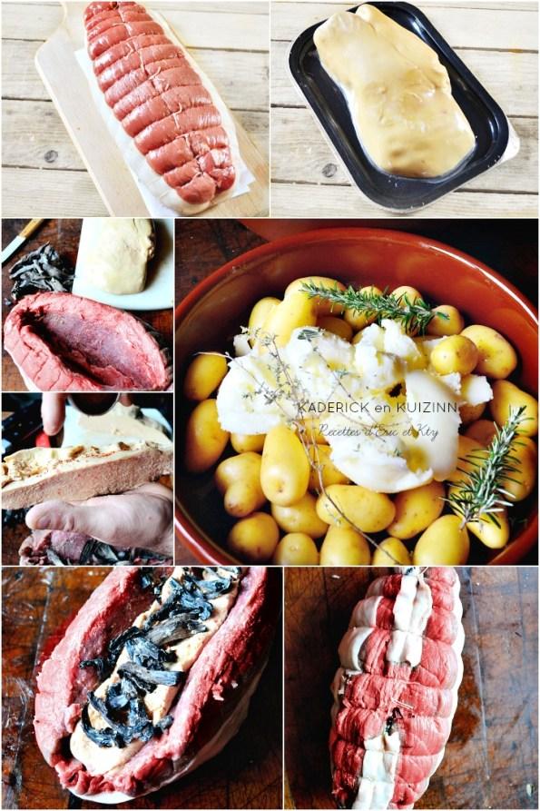 Roti de boeuf foie gras frais trompette de la mort pommes de terre grenaille