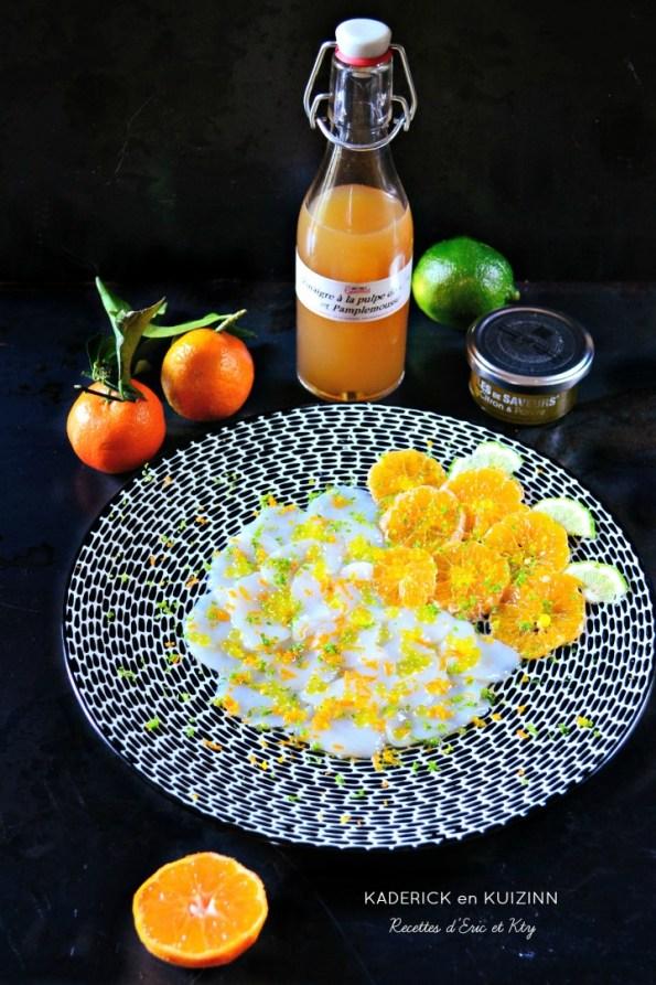 Carpaccio st jacques agrumes au vinaigre Instinct Gourmets