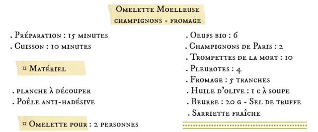 Fiche recette omelette moelleuse champignons fromage sel truffe