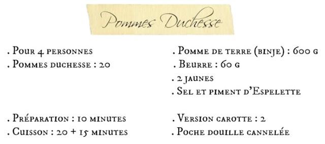 Fiche recette pommes duchesse nature ou carotte