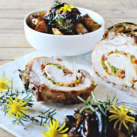Rôti de porc roulé farci Ossau Iraty légumes