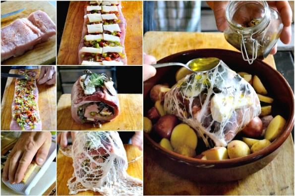 Roulage roti de porc farce poivrons fromage cepes cuit four