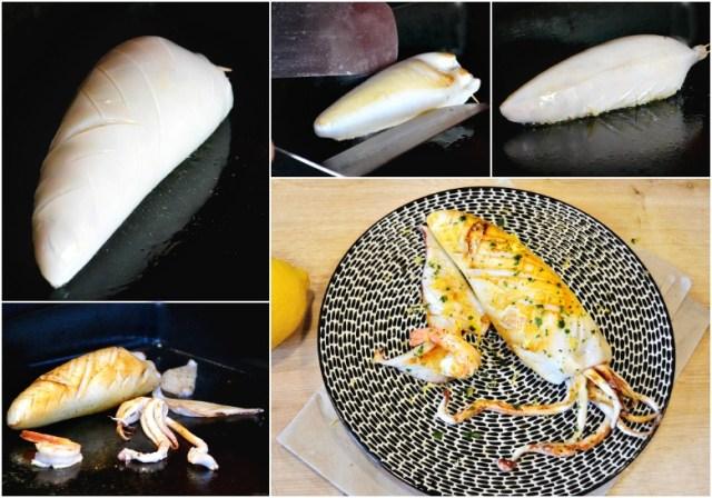Cuisson plancha calamar entier farci ricotta crevettes