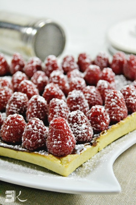 Février 2016 - Part tarte chocolat caramel framboises fraiches