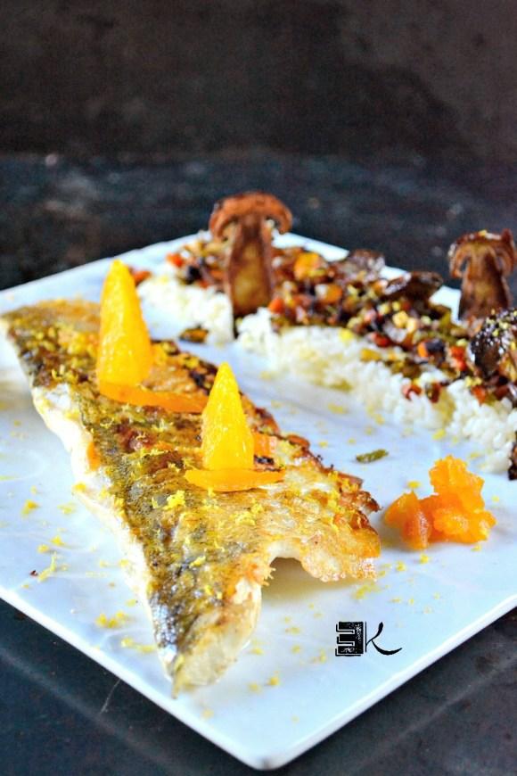 Filet de sandre grillé plancha cèpes petits legumes - Kaderick