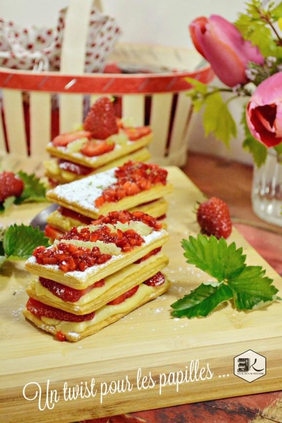Recette millefeuilles fraises crème vanille thym citron vert - Kaderick