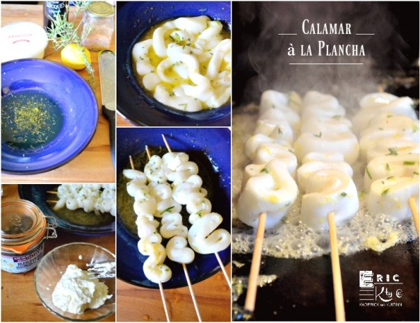 Brochettes calamar cuits plancha marinade citron thym romarin