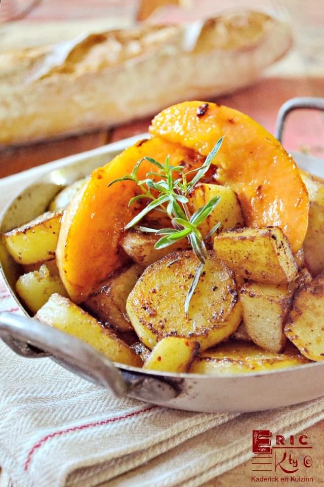 Plancha pommes de terre tranches melon rissolées - Kaderick