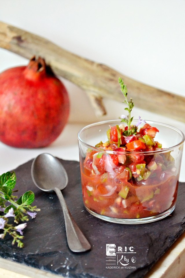Recette sauce salsa grenade tomate cornichon