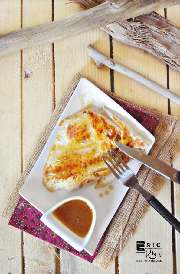 Poisson plancha - Dos cabillaud grillé et sauce ananas épicée - Kaderick