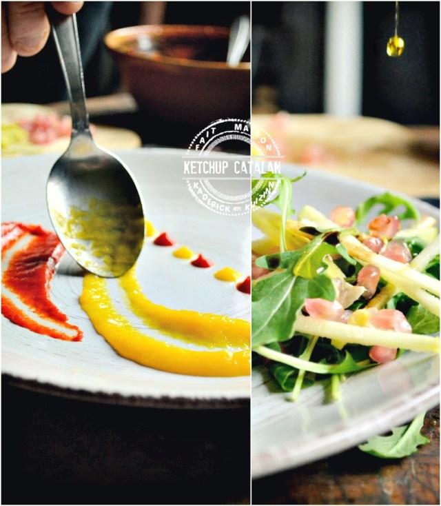 Dressage poulet vapeur roulé et farci au chorizo, légumes, feta | Kaderick en Kuizinn