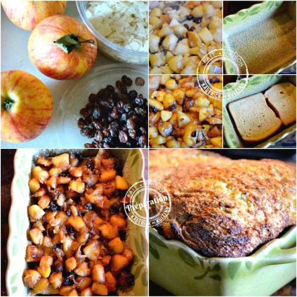 preparation-cake brioché-pommes-caramelisees-raisins-amandes