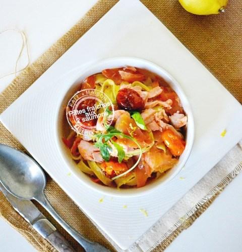 Recette tagliatelles fraîches safran aux 2 saumons