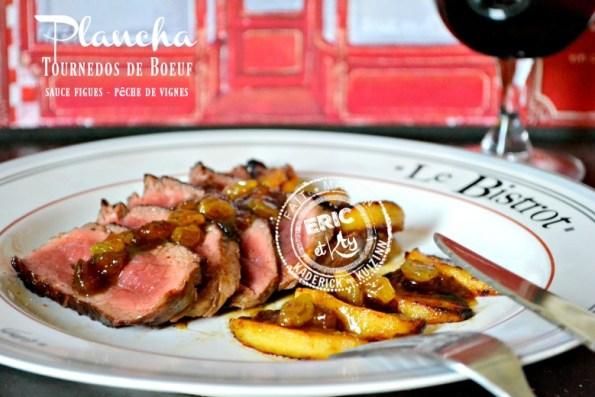 Plancha de tournedos bœuf sauce pêche vigne