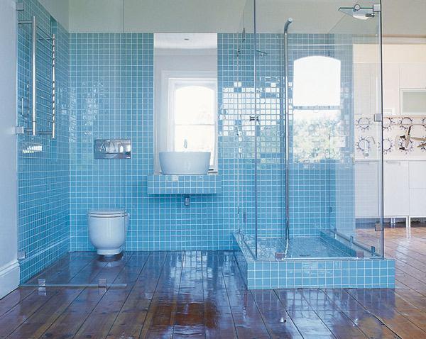 Ak Mavi inili Banyo Dizayn