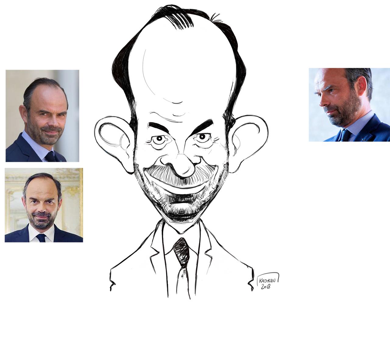 Édouard Philippe caricature sketch couleur © Kadran 2018 - Kadran-illustrations.com