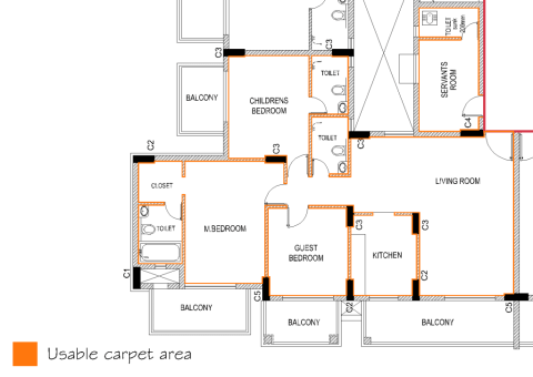 carpet area calculation