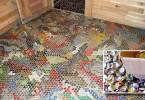 creative inexpensive flooring ideas, Bottle-Cap-mounted-Flooring, creative inexpensive flooring ideas,
