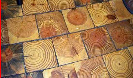 Growth-Circle-wooden-pattern-Flooring, creative inexpensive flooring ideas,