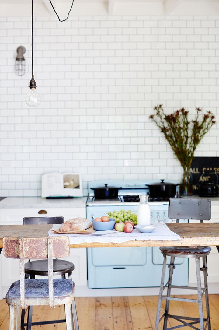 Consider colored appliances for a white kitchen for a little bit of contrast