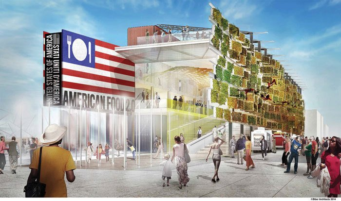 temporary architecture in milan expo, us pavilion milan expo,