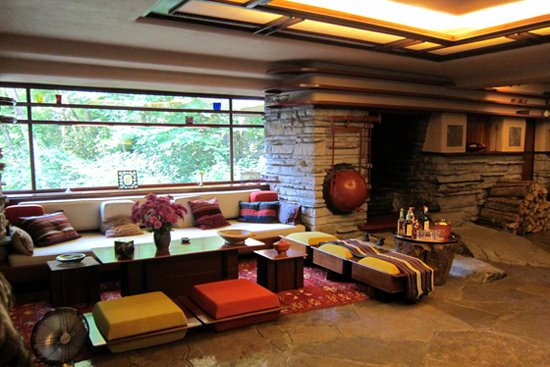 Fallingwater, flw project, falling water interior,