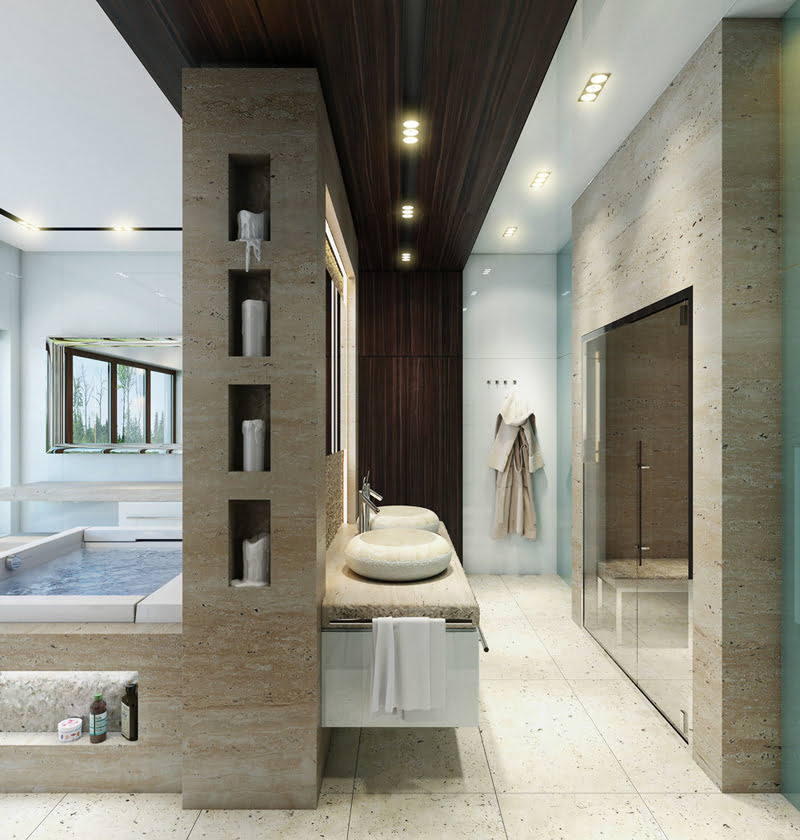 A divine bathtub with an incorporated storing niche for shampoo, candles and body lotions 2
