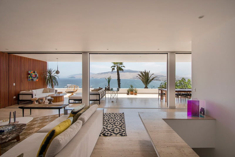 Hill Side House living room view,