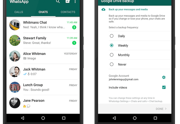 WhatsApp backup on Google Drive,