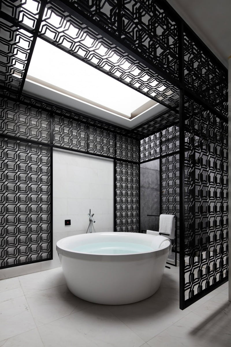 black and white bathroom is from a hotel in Xiamen, China, designed by Team BLDG