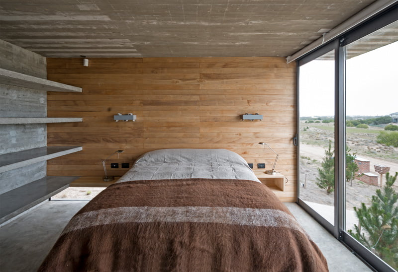 exposed concrete modern house bedroom wooden interior