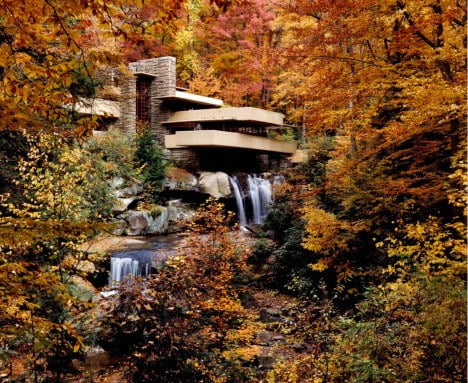 mid century modern architecture of Fallingwater by Frank Lloyd Wright