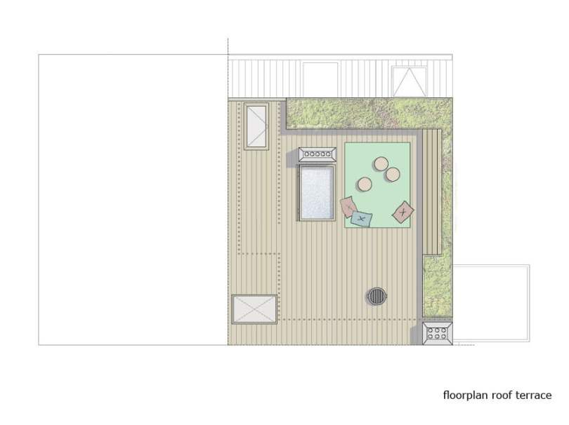 rooftop garden and deck of penthouse design plan