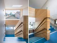 Creative Wall Mounted Wood Handrail Design for Young and Child