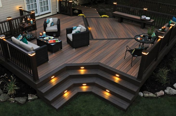 outdoor deck lighting with railing and floor lights