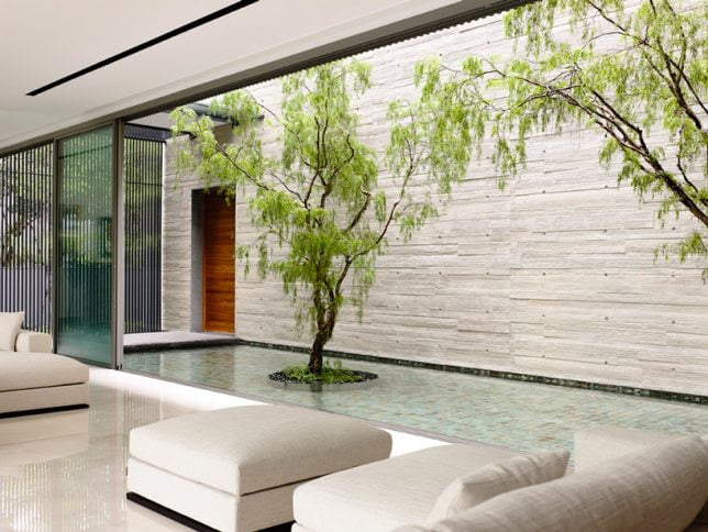 Private Courtyard in geometric shape concrete house
