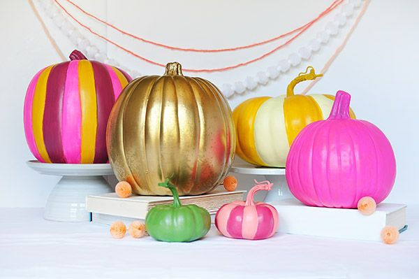 colorful-painted-pumpkins-craft-for-halloween-decorations