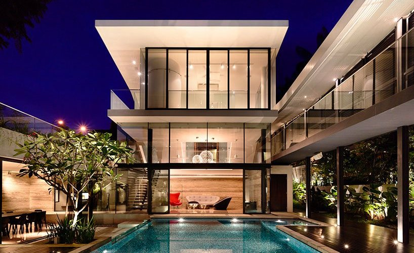 modern bungalow architecture with internal courtyard,
