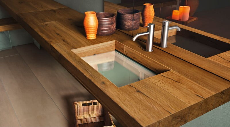 wood finish sink,
