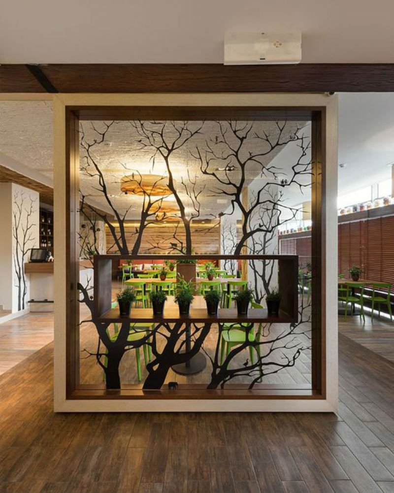 wooden partition in living room,