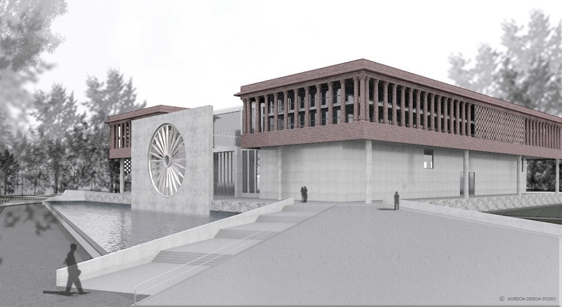 FRONT AND EAST SIDE VIEW OF PROPOSED WAR MUSEUM,
